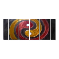 Pure Art - New Age Yin & Yang Abstract Art Set of 6 - Full of contrast, color and light, this abstract artwork features two streaks of color, one yellow and one red, with each appearing to be led by a ball of silver. The piece has a great deal of motion due to the arrangement of the two circular streaks of color and the hand grinding techniques that add contrast and light to the metal.Made with top grade aluminum material and handcrafted with the use of special colors, it is a very appealing piece that sticks out with its genuine glow. Easy to hang and clean.