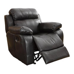 Homelegance - Homelegance Marille Rocking Reclining Chair in Black Leather - With either the extended stretch of the reclining sofa or soothing rock of the reclining chair, your comfort is taken care of in the Marille collection. Drop-down cup holders add additional function to the collection. The set is covered in a warm brown polished microfiber, brown bonded leather match or black bonded leather match.