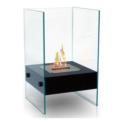 Anywhere Fireplace - Hudson Bio Ethanol Fireplace - The elegance and clean design of the glass and black coated Anywhere Fireplace Hudson works in all settings, indoor or out. With no necessary installation, getting the fire started is as easy as adding fuel and clicking the lighter. No need for a vent or flue. This fireplace only emits water vapor and carbon dioxide. No Smell, No Smoke, No Fumes! Stepping off the hearth and out of the box, this ethanol burning fireplace is entirely portable, making it an easy installation and an even easier appliance. With the simple addition of bio-ethanol fuel, prepare to sit back and enjoy the warmth of real flames in just minutes.
