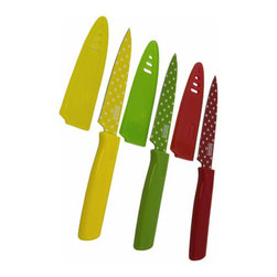 Primary Colors Paring Knives (Set of 3) - Add a splash of color to your kitchen with these Primary Colors Paring Knives. Safely store these Primary Colors Paring Knives inside of their matching sheaths to protect your fingers when you search for a knife in a drawer. These Primary Colors Paring Knives come in a set of three knives, each with a nonstick blade to let your fruits and vegetables slide right off.
