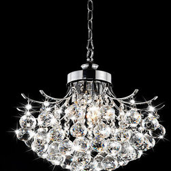 None - Indoor Chrome Crystal Ball 3-light Chandelier - Add glistening light to your home with this elegant crystal ball chandelier. The three-light chandelier has a chrome finish that looks charming, and its crystals refract light for a dazzling look. The indoor lamp is on a 40-inch chain for easy hanging.