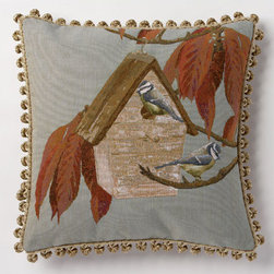 Corona Decor - Bird House Autumn Pillow - -80% cotton 20% wool.  -Made in france.  -Finished with hand tied fringe in the USA.  -Zippered with poly inserts.   -Dry clean only.   Corona Decor - PF8721/L