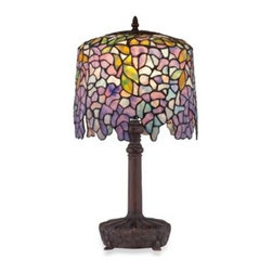 Quoizel - Quoizel  Tiffany 1-Light Table Lamp - The cascade of lush flowers in beautiful hues of lavender, pink, blue and yellow of this Tiffany table lamp instantly adds a serene quality and a touch of glamour to any room in your home. Bronze finished base with matching finial.