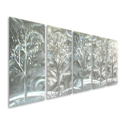 Pure Art - Monochrome Stand of Trees Metal Wall Art Hanging Set of 5 - What a sensational display of style, line and form! The Monochrome Stand of Trees Metal Wall Art Hanging set of five panels features five different trees, each of them magnificently painted by hand using premium materials, and set upon a backdrop of swirling silver. This abstract metal wall hanging portrays a scene that comes together over five different panels, and is abundantly sized at over five feet wide to make a big impact on even those larger walls in the homeMade with top grade aluminum material and handcrafted with the use of special colors, it is a very appealing piece that sticks out with its genuine glow. Easy to hang and clean.