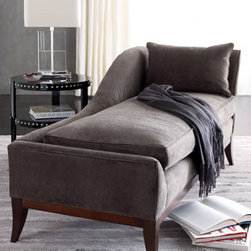 """Horchow - Swag Velvet Chaise - Velvet-covered chaise offers simple lines and luxurious lounging. Upholstered in Duxbury charcoal polyester velvet. 74.5""""W x 33""""D x 35""""T. USA/imported."""