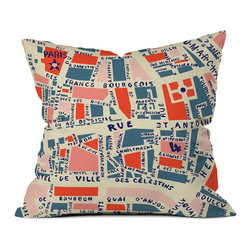 DENY Designs - Holli Zollinger Paris Map Blue Outdoor Throw Pillow - Do you hear that noise? it's your outdoor area begging for a facelift and what better way to turn up the chic than with our outdoor throw pillow collection? Made from water and mildew proof woven polyester, our indoor/outdoor throw pillow is the perfect way to add some vibrance and character to your boring outdoor furniture while giving the rain a run for its money. Custom printed in the USA for every order.