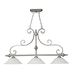 Capital Lighting - Capital Lighting 3078MN Chandler Island Light - Traditional Island Light in Matte Nickel with White Faux Alabaster glass from the Chandler Collection by Capital Lighting.