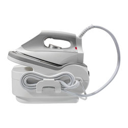 Frontgate - Rowenta Pro Iron Steam Station - Platinum stainless steel coated soleplate. Large soft-touch rear to place iron at rest. 3-way automatic shut-off. Comfortable, ergonomic handle. Engineered in Germany. Professional pressings are within reach with our Rowenta Pro Iron Steam Station. Variable steam controls are easily engaged using one-touch buttons to activate pre-selected settings optimized for particular fabric. An extra-large water tank provides up to 1-1/2 hours of use before refilling, and the lengthy steam and power cords ensure easy maneuverability and reach. A sturdy base easily fits on most ironing boards and allows convenient placement for resting, storage and transport.  .  .  .  .  .