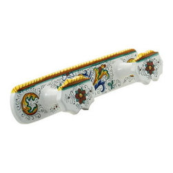 Artistica - Hand Made in Italy - RAFFAELLESCO: Double Coat Hanger - RAFFAELLESCO Collection: Among the most popular and enduring Italian majolica patterns, the classic Raffaellesco traces its origin to 16th century, and the graceful arabesques of Raphael's famous frescoes.