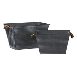 Galvanized Totes - The rich mix of leather handles with dark galvanized steel means these baskets have the perfect look for winter.