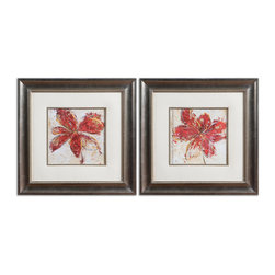Floral Gesture Framed Art Set/2 - These Vibrant Prints Are Accented By Faux, Beige Linen Mats. Frames And Fillets Have A Silver Leaf Base With A Light Brown, Gray And Black Wash. Prints Are Under Glass.