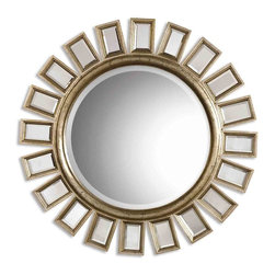 Uttermost - Cyrus Round Silver Mirror - Mirrors are like good friends, you can never have too many. And this mirror has a lot going for it. The frame is antiqued, distressed silver holding beveled mirrors surrounding the large round central mirror.  It's more ways to reflect your good taste.