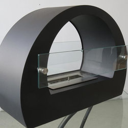 "Free Standing - Bio Ethanol Fireplaces - "" CHELSEA BLACK "" Modern Free Standing Ventless Ethanol Fireplace"