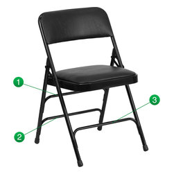 Flash Furniture - Flash Furniture Hercules Series Metal Folding Chair - The triple braced Hercules series folding chairs are our best folding chairs ever. When in need of temporary seating this heavy duty black metal frame chair with black vinyl padded seat and back is perfect. This portable folding chair can be used for parties, graduations, sporting events, school functions and in the classroom. This chair will be the perfect addition in the home when in need of extra seating to accommodate guests. The chair will not take up anywhere near as much space as chairs that cannot fold when it comes time to clean up. This economically priced chair will endure some heavy usage with an 18-gauge steel frame, triple braced and leg strengthening support bars. [HA-MC309AV-BK-GG]