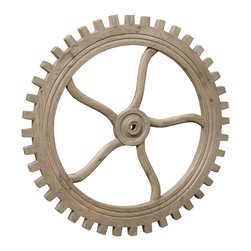"Kathy Kuo Home - Rustic Lodge Reclaimed Elm Wood 40"" Large Wheel Wall Decor - Reinvent your wall decor with this eye-catching wooden wheel. Fashioned from reclaimed elm and inspired by old textile mills, it's a gorgeous combination of rustic charm and chic industrial style."
