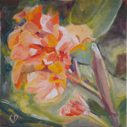 Canna Flower Impressionistic Painting Original Oil By Carol DeMumbrum - A small, bold piece, such as this, would be perfect in a collage of original art or propped on an easel on your desk. It's a stunning color palette. I can't stop thinking about this one!