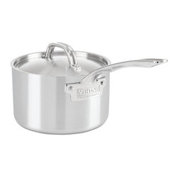 Viking - Viking Professional 5-Ply 3 Qt. Sauce Pan, Satin Finish - With an elegant satin finish, the VikingProfessional 5-Ply  3 quart saucepan delivers commercially approved performance to the home cook who demands it. 5-Ply construction maximizes heat transfer and reduces energy usage, features that enable Viking cookware to deliver superior cooking performance. The exterior layer is magnetic stainless steel that makes it suitable for induction stovetops. The next layer of aluminum alloy bonds to the middle layer, which is 3004 aluminum. The fourth layer is an aluminum alloy bonded to the interior 18/10 high-grade stainless steel. Together, these five layers work in unison to transfer heat quickly and evenly through the bottom and sides of the pan, making the saucepan extremely responsive, essential in making perfect sauces, heating liquids, or reheating sauces or other food. The Viking-designed ergonomic handle takes stress off of the wrist, making cooking easier and enjoyable while reducing heat transfer to keep the handle cool. The raised lid handle makes sure that it stays cool, allowing for space for use with baking mitt or towels. The non-reactive and non-porous inner layer of stainless steel combines with the efficiency of the core to make an ideal cooking surface that is easy to clean and sanitize.   The 5-ply construction is designed to be used in the oven the same way professional chefs use their cookware in a restaurant kitchen. Stove, oven, and grill friendly up to 600F degrees. HANDCRAFTED IN THE USA with a limited lifetime warranty.