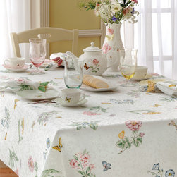 None - Lenox Butterfly Meadow Table Cloth - This Lenox butterfly-print tablecloth is just the thing for enjoying a more stylish table setting. Crafted from a blend of fabrics and machine washable for easy care,this table cloth makes a handsome backdrop for everyday meals and casual dining.