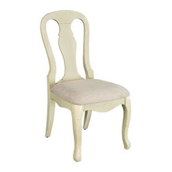 Home Decorators Collection - Sheffield Side Chair - The gracefully curving, scalloped details of our Sheffield Side Chair include a vase back and cabriole legs. These casually elegant dining chairs are available in a variety of warm, antiqued finishes. A soft linen seat completes the vintage look. Wood in your choice of distressed finish. Linen seat.