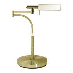 Sonneman - Tenda 1 Light Halogen 19 Height Swing Arm Table LampE-Tenda Collection - Polished Chrome Metal Shade