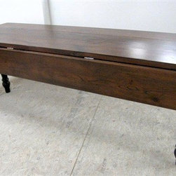 Rustic Old Oak Drop Leaf Farm Table With Black Legs - Made by www.ecustomfinishes.com