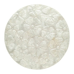 Kouboo - Round Capiz Seashell Placemat Set of 2, Off-White - Bring the balmy ocean breeze to your table with this hand-laminated placemat adorned with Capiz seashells. This lovely round Capiz placemat offers two distinct looks for your tables cape with embossed tropical flowers on one side and a beautiful pattern of Capiz shells on the other. The silvery color makes the placemat a perfect accent for entertaining at the lake house, the beach cabin, or at home.