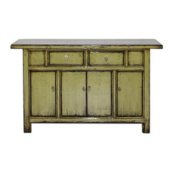 Olive Buffet - Chinese 2-door olive lacquer buffet with over-hanging top. New interior shelf and hardware.