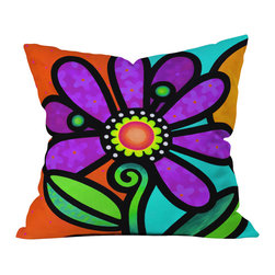 DENY Designs - Steven Scott Cosmic Daisy In Purple Throw Pillow - Wanna transform a serious room into a fun, inviting space? Looking to complete a room full of solids with a unique print? Need to add a pop of color to your dull, lackluster space? Accomplish all of the above with one simple, yet powerful home accessory we like to call the DENY throw pillow collection! Custom printed in the USA for every order.