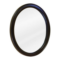 Oval Vanity Mirror - Espresso - This beautiful, classic oval mirror with an Espresso finish wood frame is a great choice for any number of decorating projects. Also complements the Demilune Espresso Vanity Cabinet.