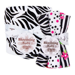"Trend Lab - Bouquet Set - Black And White Zebra - Hooded Towel & Wash Cloth - Make bath time fun with Trend Lab's Black and White Zebra Hooded Towel and Wash Cloth Set. Set features a white terry hooded towel with printed cotton percale throughout the hood and trim and five wash cloths each with fun, modern printed cotton on the front and terry on the back. Hood and trim of towel and one wash cloth features a black and white zebra print. Remaining wash cloth patterns include: two black and paradise pink confetti dot prints on white backgrounds, one black and white stripe print with paradise pink and electric lime floral accents and one that has solid paradise pink rosette velour. Hooded towel measures 32"" x 30"" and each wash cloth measures 8"" x 8""."