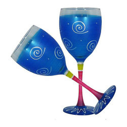 Frosted Curl Turquoise Wine Glasses   Set of 2 - This lovely hand painted wine glass is one of our top sellers.  It is turquoise with accent colors and adorned with curls and dots.  Perfect for any season or occasion.  Something to be handed down from generation to generation.  Proudly hand painted in the USA.