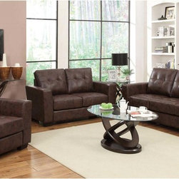 Coaster Modern Brown Leather Sofa Couch Loveseat Arm Chair Living Room - Stylish and functional. Our Enright collection is available in black, brown and white bonded leather match-neutral colors making it easy to match any decor with. You and your guests can enjoy plush and comfortable seating on top of fiber filled back cushions. Tufted seats and back, straight arms and a simple design will give your living room a contemporary look.