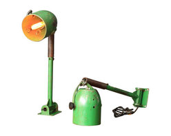 Vintage Industrial Wall Mount Task Lamps - A Pair - Dimensions 7.0ʺW × 7.0ʺD × 33.0ʺH