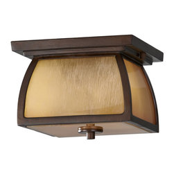 Murray Feiss - Murray Feiss Wright House Flush Mount Outdoor Lighting Fixture - Shown in picture: Wright House Ceiling Fixtures in Sorrel Brown finish