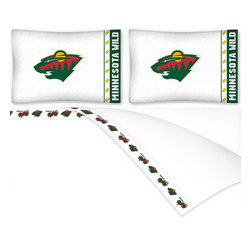 Sports Coverage - NHL Minnesota Wild Hockey Queen Bed Sheet Set - Features: