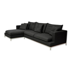 sohoConcept - Simena Wool Fabric Sectional in Black - Made of Wool Fabric. Sectional sofa with very comfortable cushions and frame on continuous tubular metal base which has cylindrical chromed steel legs tipped with plastic glides. Sofa has solid pine wood frame. The loose removable cushions are zippered and filled with down and feather. Frame is upholstered with velcro enclosed slip cover. Suitable for both residential and commercial use. Black finish. 124 in. L x 68 in. W x 26 in. H, Seat Height: 15 in.