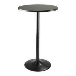 "Winsome Wood - Winsome Wood 20123 Pub Round Table in Black - Sleek and stylish all black Pub Table. Round Table top is veneer in black on MDF with metal black coating for base. Table size 23.66"" round by 39.76"" high. Easy Assembly."