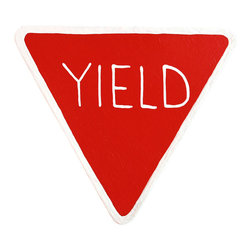 "Little Elephant Company - Stop and Yield Sign Quilt Clips set of 2 - Beautiful quilt clips that transform your treasured baby quilts and comforters into charming hanging artwork for your child's room.    Very easy to use.  ***  This listing is for a set of two (2) hand painted quilt clips. This set includes a stop sign and a yield sign, both in red and white.    These are perfect for a construction or transportation themed bedding set.    Measurements are:  - stop sign 3.75 in.  - yield sign 4.13 in. x 3.88 in.    How many quilt clips do I need?  - For a quilt that is still stiff and new, you will only need 2 quilt clips for up to 36 inches wide. Many people will do 3 quilt clips just for the look, though. For a quilt that has been washed and is pliable, 2 clips will be sufficient for up to 36 inches, but you may want 3 clips to help keep the center from sagging. For a quilt 36 to 42 inches wide, use 3 to 4 clips. For a quilt 42 to 50 inches, use 4 to 5 clips.    How do the quilt clips work?  - The only hardware is needed is a long nail, approximately 1 1/2"" to 2 1/2"" in length.  - Measure how far apart you would like the clips to be.  - Decide how high on the wall they will be placed and mark your first spot. Using a level, measure out and mark the second spot.  - Place your nails into the wall at a 45 degree angle. IMPORTANT: If your nail is not at a 45 degree angle, the clip may slip off the nail.  - Clip the quilt and slide the back of the clip over the nail.    What are the clips made of?  - Designs are made of layered wood. A few of our designs also have layered felt.   - Clips on the back are a sturdy plastic so as not to damage your fabric."