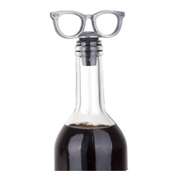Eye Spectacles Bottle Topper - Keep opened bottles of wine and other spirits fresher longer. Constructed from cast metal, these spectacles add playful intrigue to any décor and make the hassle of searching for corks and lids after a gathering a thing of the past.