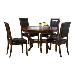 Homelegance - Homelegance Avalon 8 Piece Round Dining Room Set in Cherry - This clean-lined transitional casual dining takes its roots from the art deco era of the 1930's. The Avalon dining collection is both straight forward and dramatic. Excitement comes from its simple yet elegant rectangular leg table and two round table options, streamlined bowed fronts bunching china with tear drop drawer pulls and its matched veneer drawer front design. The dark brown bi-cast vinyl chair with style and durability makes a statement of its own. Constructed of maple veneers with select hardwoods in a contemporary low sheen cherry finish.