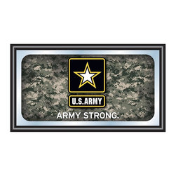 Trademark Global - Digital Camo Framed Mirror w U.S. Army Logo - Includes mounted saw tooth hanger. 0.75 in. mirror thickness. 1.25 in. black wrapped wood frame. Officially licensed full color artwork. Mirrored glass accents logo. No assembly required. 26 in. W x 15 in. H (7 lbs.)Reflect on the favorite memories of your military service with this officially licensed framed logo mirror. Display your passion for the game while assisting your room's appearance with this professional grade logo mirror.