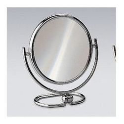 """Windisch by Nameeks - Stand Makeup Mirror - Windisch's Stand Mirrors magnifying mirror is a makeup mirror that works well in a contemporary style bathroom. This free-standing magnified mirror is a designer option for your trendy master bath. This high-end magnified mirror is made of high-quality brass and finished with chrome or gold. Features: -Makeup mirror. -Stand Mirrors collection. -Contemporary style. -Round shape. -Free standing. -3x Magnification. -Double Face. Specifications: -Overall Dimensions: 7.28"""" H."""