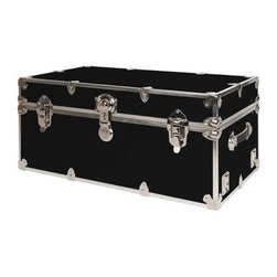 Rhino - Rhino Armor Storage Trunk in Black (Super Jum - Choose Size: Super Jumbo: 44 W x 24 D x 22 H (69 lbs.)Two nickel plated steel universal wheel adapter plates mounted on the side of the trunk. Laminated armor exterior. Strong hand-crafted construction using both old world trunkmaking skills and advanced aviation rivet technology. Steel and aluminum aircraft rivets used to ensure durability. Heavy duty proprietary nickel plated steel hardware. Steel lid hinges and steel lid stay for keeping the lid propped open. Tight fitting steel tongue and groove lid to base closure to keep out moisture, dirt, insects and odors. Stylish lockable nickel plated steel trunk lock. Loop for attaching a padlock. Genuine leather handles. American craftsmanship. Self-sticking adhesive on the back of the name plate. Upper or lower case lettering. Lettering is in black. The name plate can take 24 characters per line. The max number of lines is 2. Warranty: Lifetime warranty includes free non-cosmetic repairs for the life of the trunk. Made from smooth 0.38 in. premium grade baltic birch hardwood plywood. No paper or plastic lining anywhere avoiding peeling or tearing. Name plate made from plastic. No assembly required. Name Plate: 3 in. L x 1 in. H (0.5 lbs.)The hand-crafted American Made Rhino Armor Cube is constructed from the highest quality components. Rhino Armor is an exterior 1000d Cordura Nylon textured sheathing that's highly resistant to water penetration, denting and scratching. The Rhino Armor Cube is conveniently sized and ruggedly built. In fact, its strong enough to stand on ! The Rhino Armor Cube is easily stowed and can be securely locked to insure the safety of personal items. The Rhino Armor Cordura sheathing ensures that Rhino Armor Cubes have the most durable exterior available in the trunk industry. Rhinos brushed bright metal finish name plates are a great addition to any Rhino Trunk. Most people put their full name on, but its your choice. You can have your name on one or two lines. You can place the name plate anywhere you like on the Rhino Trunk.
