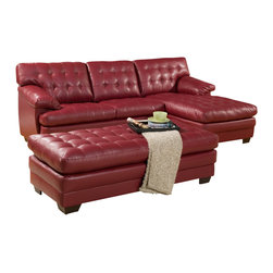 Homelegance - Homelegance Brooks 2 Piece Living Room Set in Red Leather - Relaxation is serious business. Serious comfort is what the Brooks Collection offers in this substantially sized upholstered seating group. Channel-tufted, bonded leather covers the pillow arms, overstuffed cushions and is offered in a rich dark brown or red. The unique feature of this collection is the wide chaise that extends from the sectional sofa. The coordinating ottoman tucks neatly into the face of the sofa, effectively extending your lounging space.