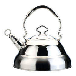 Berghoff - Berghoff Harmony Whistling Kettle 11 Cup - Quality 18/10 stainless steel whistling tea kettle features a large handle and dripless pour spout for comfort as well as safe pouring. Use on any stove top: gas, electric, ceramic or induction. Whistles when your water boils.