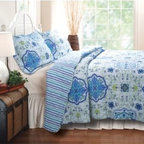 Greenland Esprit Capri Quilt Set - The Greenland Esprit Capri Quilt Set brings a beautiful backdrop for your east-facing bedroom. This charming set includes a quilt and 2 matching pillow shams (1 sham for the twin-sized set), each made from fine 100% cotton. A springy floral pattern adorns each piece, rendered in placid blues and greens, with purple highlights. The quilt features a thick cotton filling that's both soft and warm. Pieces are each machine-washable. Quilt Dimensions:Twin: 88L x 68W inchesFull/Queen: 90L x 90W inchesKing: 96L x 104W inchesAbout Greenland Home FashionsFor the past 16 years, Greenland Home Fashions has been perfecting its own approach to textile fashions. Through constant developments and updates - in traditional, country, and forward-looking styles – the company has become a leading supplier and designer of decorative bedding to retailers nationwide. If you're looking for high quality bedding that not only looks great but is crafted to last, consider Greenland.