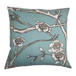 """The Pillow Collection - Tadita Floral Pillow Blue 18"""" x 18"""" - Elevate your interiors to the next level by adding this fresh-looking decor pillow. Floral patterns in shades of black, brown and white are highlighted on a blue-hued fabric. Add flair to your living room, bedroom or lounge area with this inviting 18"""" pillow. Crafted from 100% soft and durable cotton material. Hidden zipper closure for easy cover removal.  Knife edge finish on all four sides.  Reversible pillow with the same fabric on the back side.  Spot cleaning suggested."""