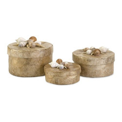 """IMAX CORPORATION - Sanibel Natural Shell Boxes - Set of 3 - The delicate set of three Sanibel Natural Shell Boxes are a must have for any beach lover. With a capiz shell surface and sea shell adorned lids, these small round storage boxes are perfect in a bathroom or on a dressing table. Set of 3 in various sizes measuring around 23.25""""L x 17""""W x10.25""""H each. Shop home furnishings, decor, and accessories from Posh Urban Furnishings. Beautiful, stylish furniture and decor that will brighten your home instantly. Shop modern, traditional, vintage, and world designs."""