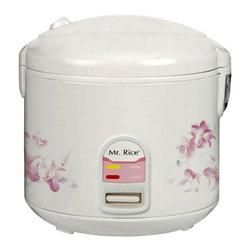 SPT Appliance - Sunpentown10 Cups Rice Cooker w Condensation - Whether you're making gumbo or sushi, the Sunpentown 10-cup cooker will cook your rice to perfection.  Attractive floral design exterior stays cool to the touch even when the power is on.  Removable non-stick coated inner pot makes serving and clean up a cinch.  For added versatility use the included steam tray for vegetables and more. Easy one-button operation. Automatic keep warm system, for up to 12 hours. Cool touch exterior. Air-tight lid locks in moisture and flavor. Cook and Keep Warm indicator lights. Removable non-stick inner pot. Added cooking versatility with supplied steam tray. Condensation collection cup. Safety lock button. Capacity: 10 cups / 1.8 L. Input voltage: 120V / 60Hz. Power consumption: 700 W. 11.5 in. W x 11.5 in. D x 12 in. H (7 lbs.)Cook various dishes with this rice cooker. You can steam rice, porridge, soup, stew and much more. Features one-touch operation and convenient carrying handle. Automatically switches to Warm mode.