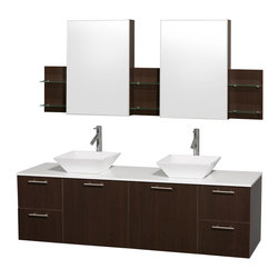 """Wyndham Collection - Amare 72"""" Espresso Double Vanity w/ White Man-Made Stone Top & Medicine Cabinet - Modern clean lines and a truly elegant design aesthetic meet affordability in the Wyndham Collection Amare Vanity. Available with green glass or pure white man-made stone counters, and featuring soft close door hinges and drawer glides, you'll never hear a noisy door again! Meticulously finished with brushed Chrome hardware, the attention to detail on this elegant contemporary vanity is unrivalled."""